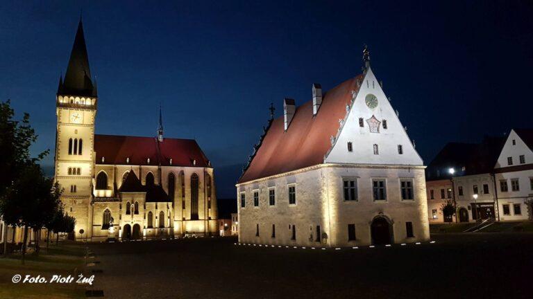 Słowacja. Bardejów wieczorem